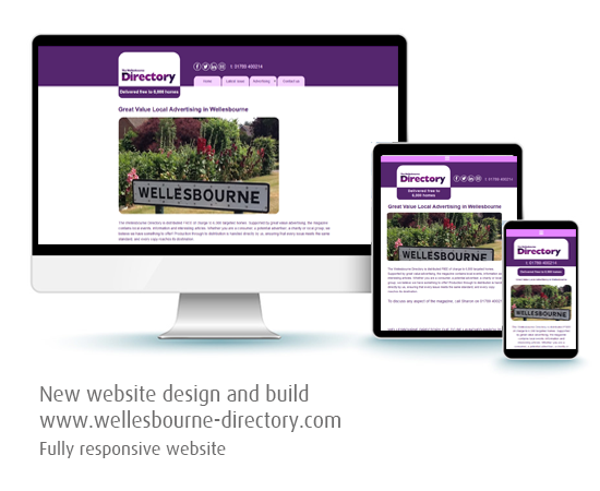 Silver Lining Graphics : Wellesbourne Directory website on desktop, tablet and mobile phone